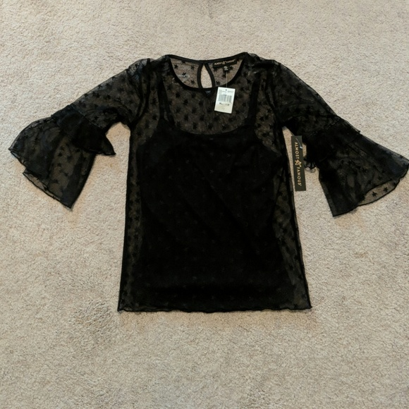 9b82827f8f605 NWT Almost Famous Sheer blouse with tank Sz. M